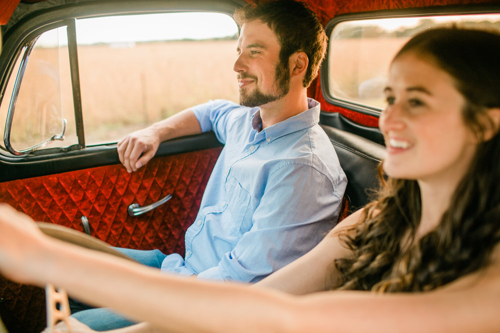 riding in vintage ford truck engagement photos