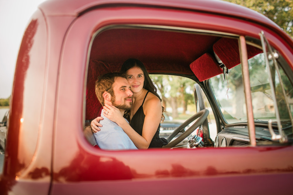 romantic steamy engagement photos in vintage truck Iowa Des Moines Iowa City