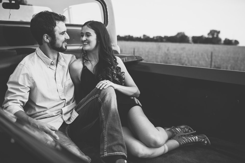 vintage styled truck engagement photos at sunset