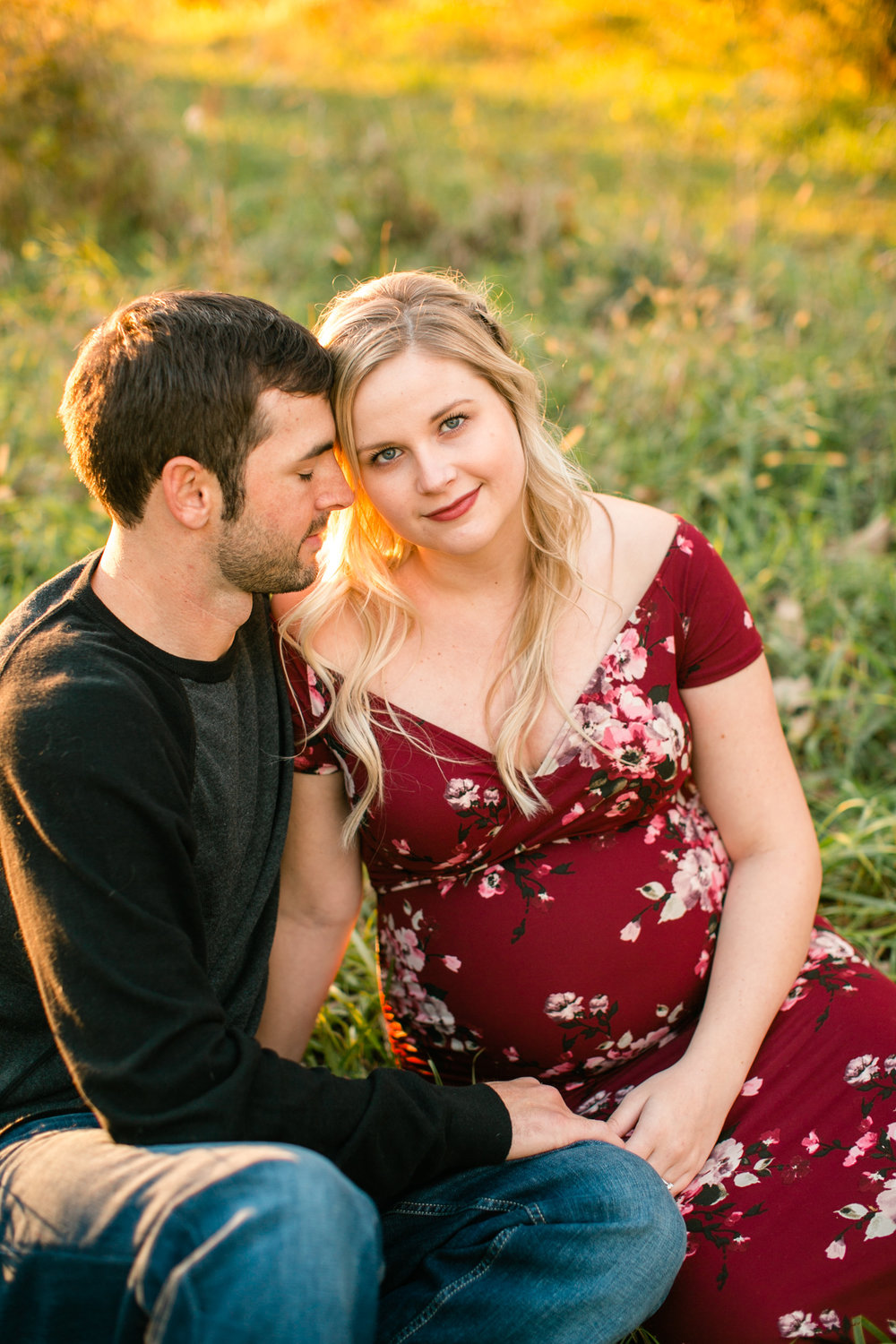 blonde mama what to wear red dress maternity photos Cedar Falls