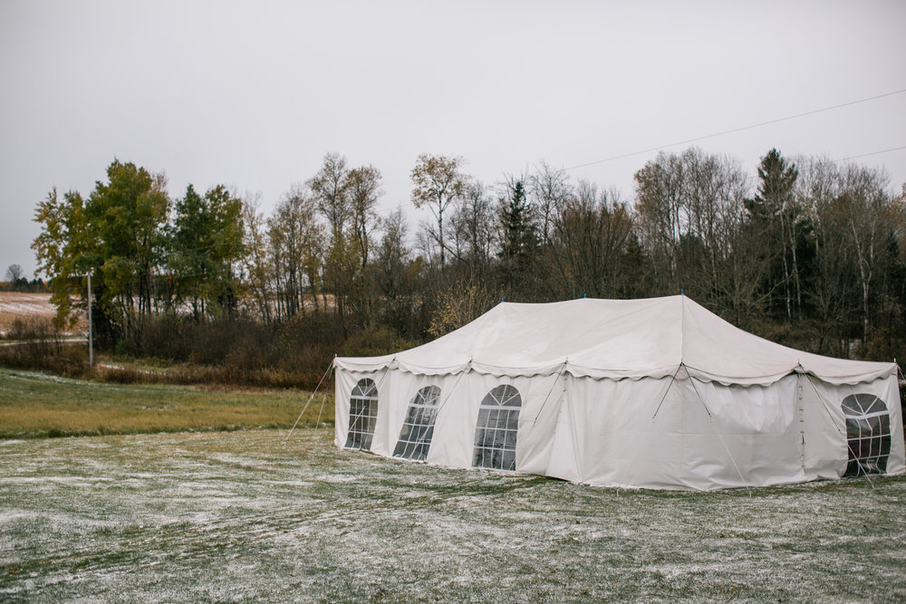 big white tent oudoor wedding photography Wisconsin farm wedding