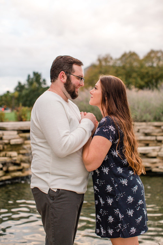 Cumming Norwalk Engagement wedding photography Iowa Sean and Jess gazing into each others eyes
