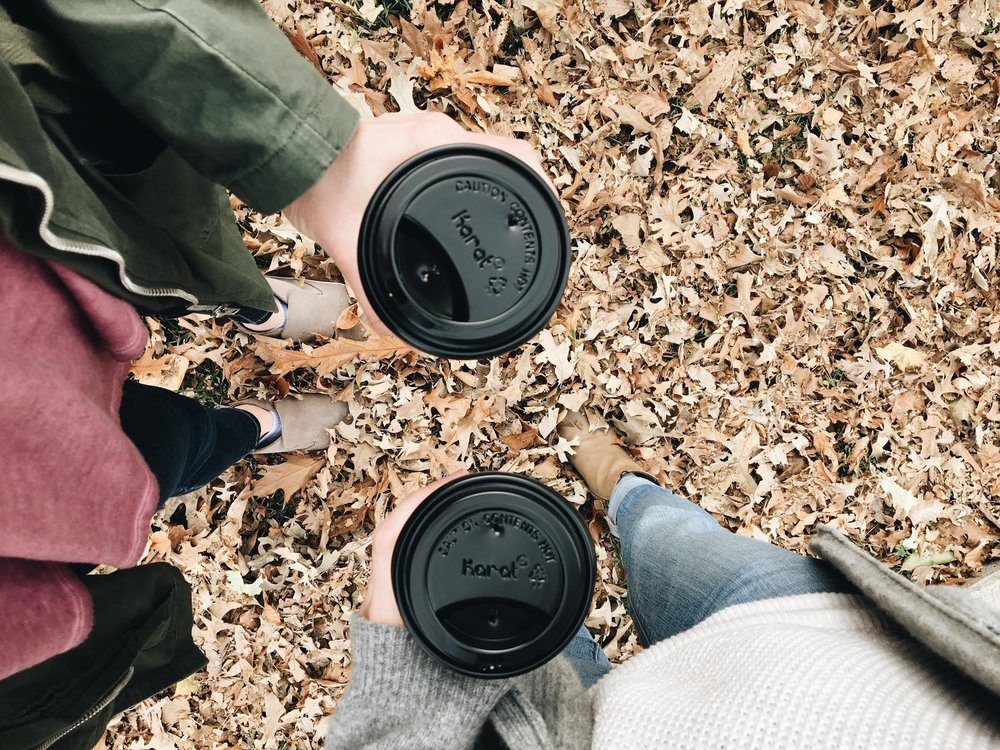 coffee walks in the fall leaves with Naomi in Omaha