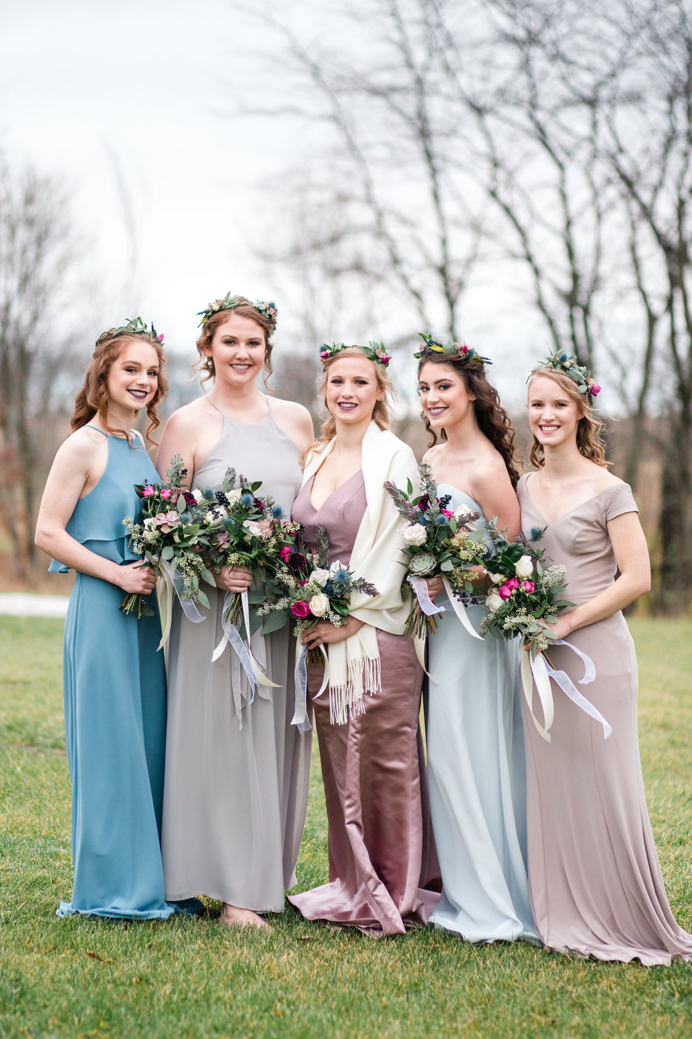 wedding photographers in Des Moines Iowa bridesmaids in blue and blush colors