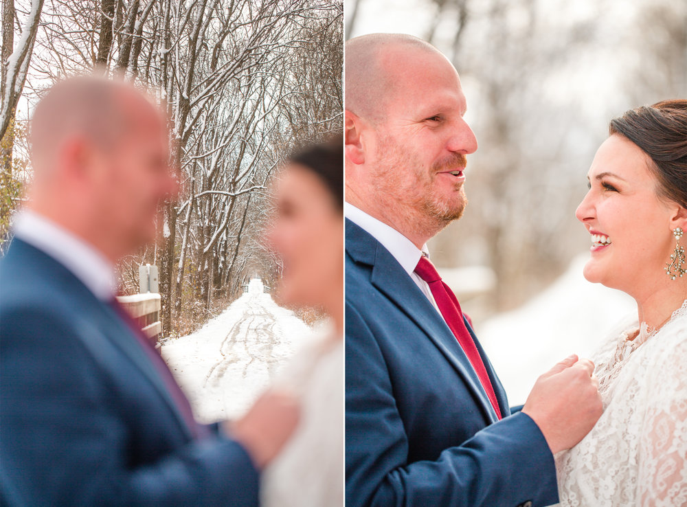 Urbandale wedding photographer Des Moines Iowa winter elopement