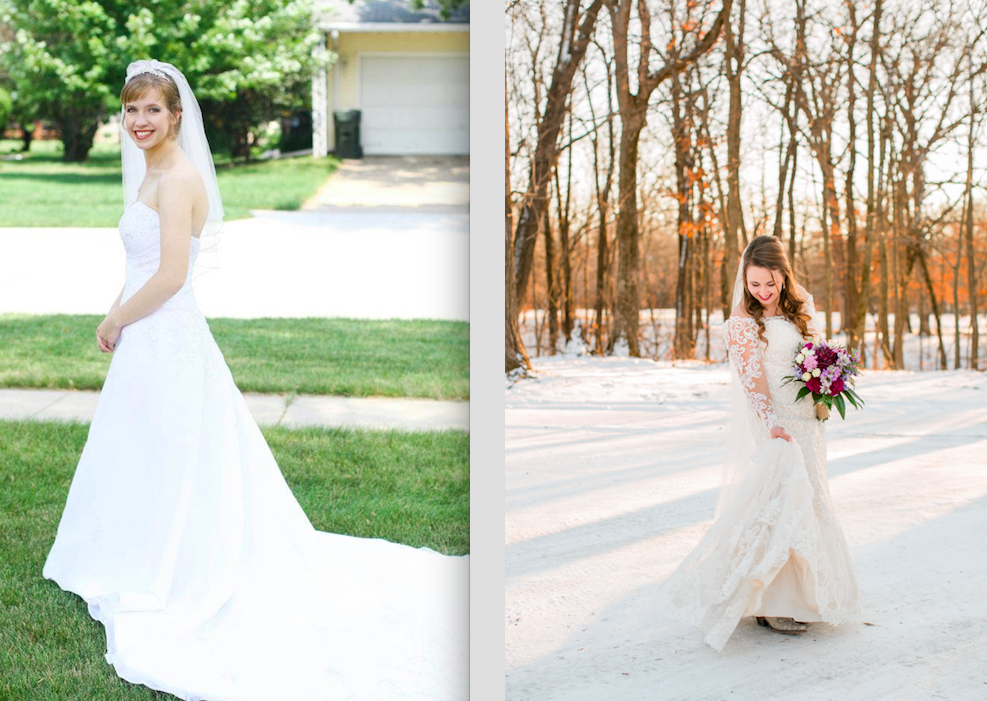 Just a sample of the difference between my first wedding vs my most recent one! Bride One's dress is blown out and has a slight blue tint, and you can see a garage door and garage bin (romantic right?!) behind her. Bride Two is moving so you can see her special boots, some of the detail in her lacy wedding dress, and the background is simple yet attractive!