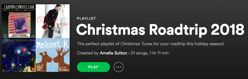 christmas playlist of music for your 2018 roadtrip on spotify