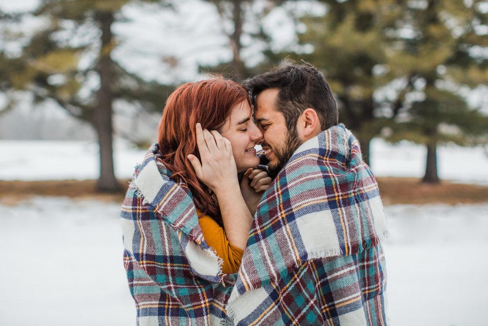 winter engagement photos Des Moines iowa