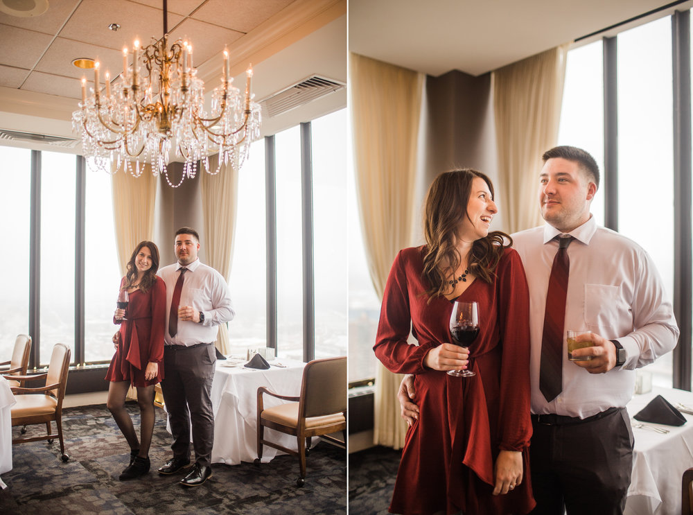 classy engagement photos with wine and chandelier