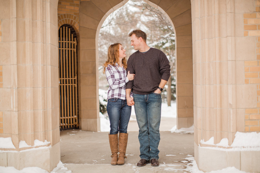 winter snowy engagement photos des moines iowa state students