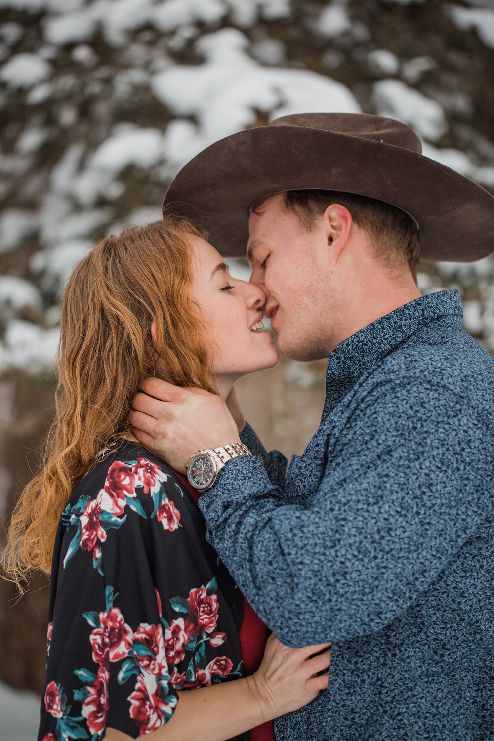 almost kissing a cowboy engagement photos