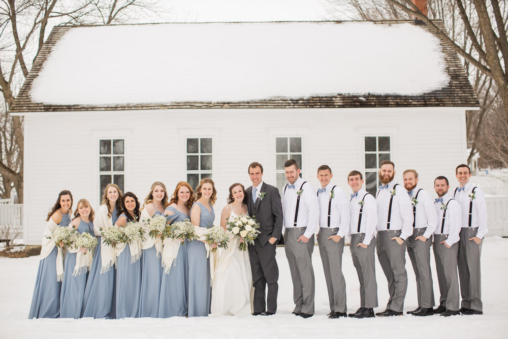 winter bridal party photos dusty blue dresses and bow ties
