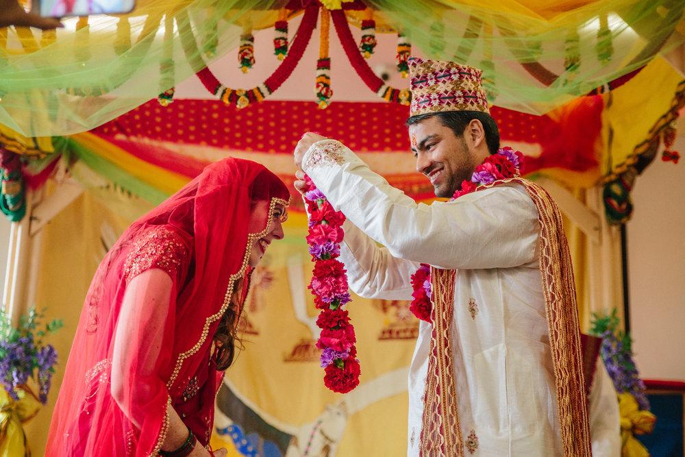 Jai Mala exchange of flower garlands during wedding ceremony
