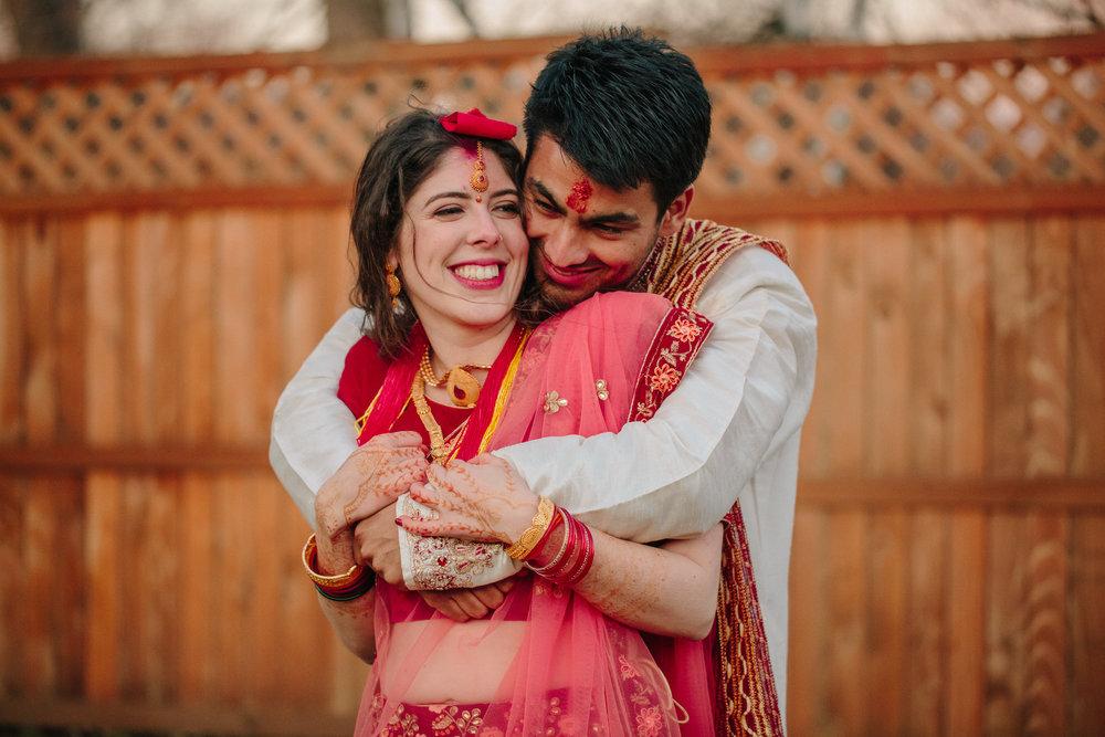Nepali-American wedding photos of bride and groom in Des Moines Iowa