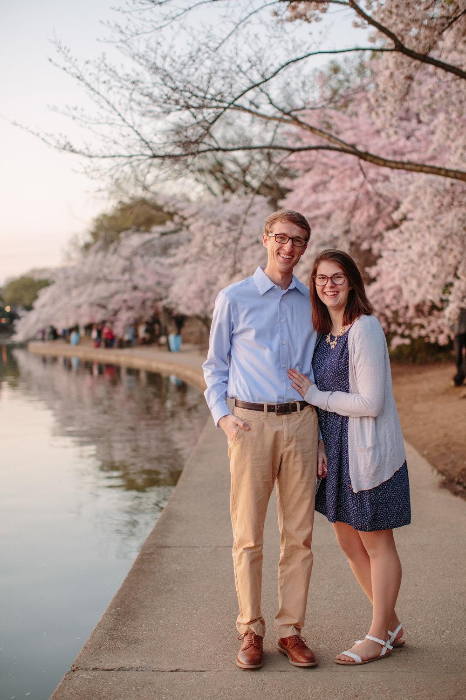 cherry blossom engagement photos Washington DC peak bloom