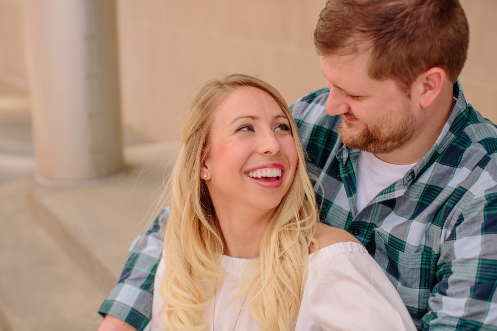 Des Moines downtown engagement photos by Amelia Renee Photography