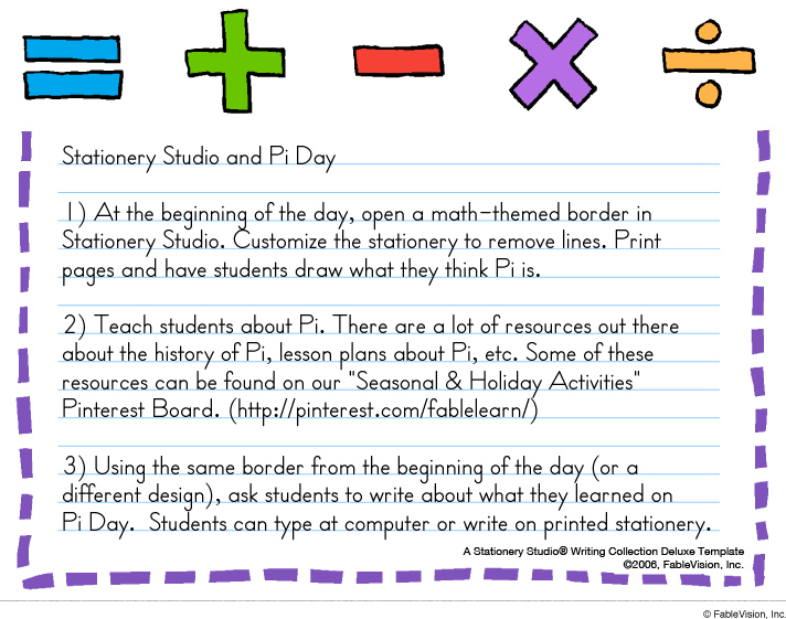 Pi Day Writing Activity Ideas
