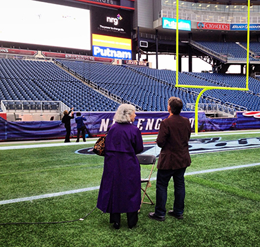 Peter on Gillette Stadium field, animating