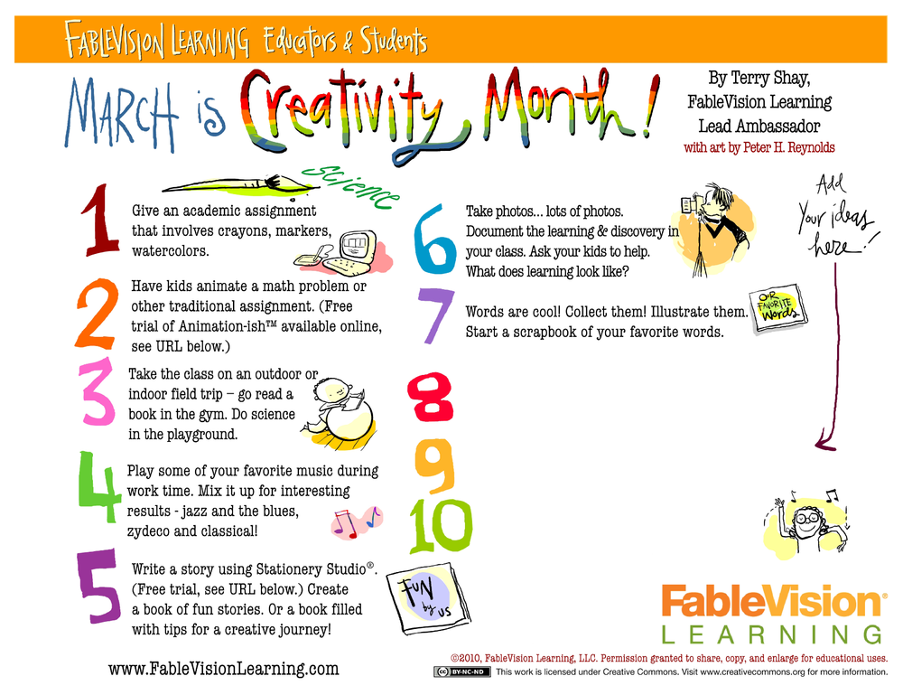 March (2014) is creativity month!