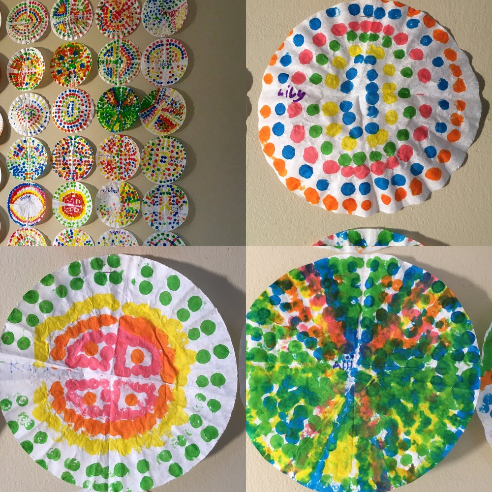 1st Grade Dot Markers on Coffee Filters.JPG