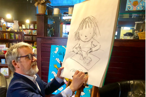 FableVision Founder, Peter H Reynolds, at his bookshop/cafe in Dedham MA.