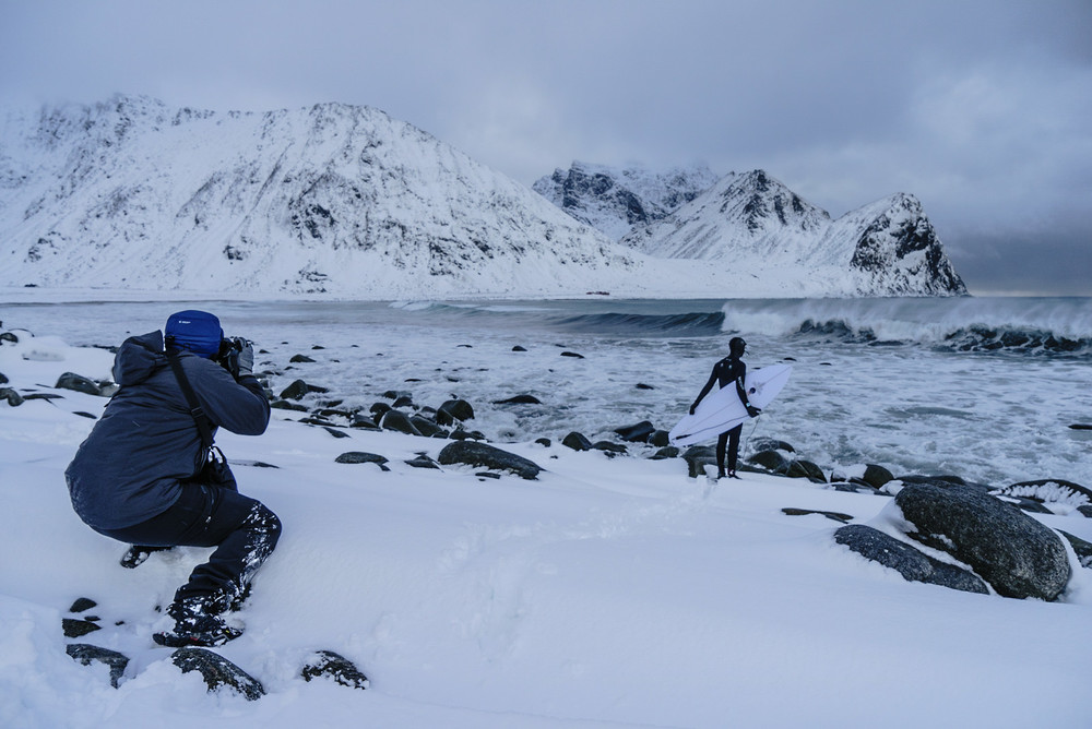 Chris is well known for having his surfer subjects in front of sweeping landscapes, and the Arctic Circle had no shortage of locations that fit Chris' needs.Write here...