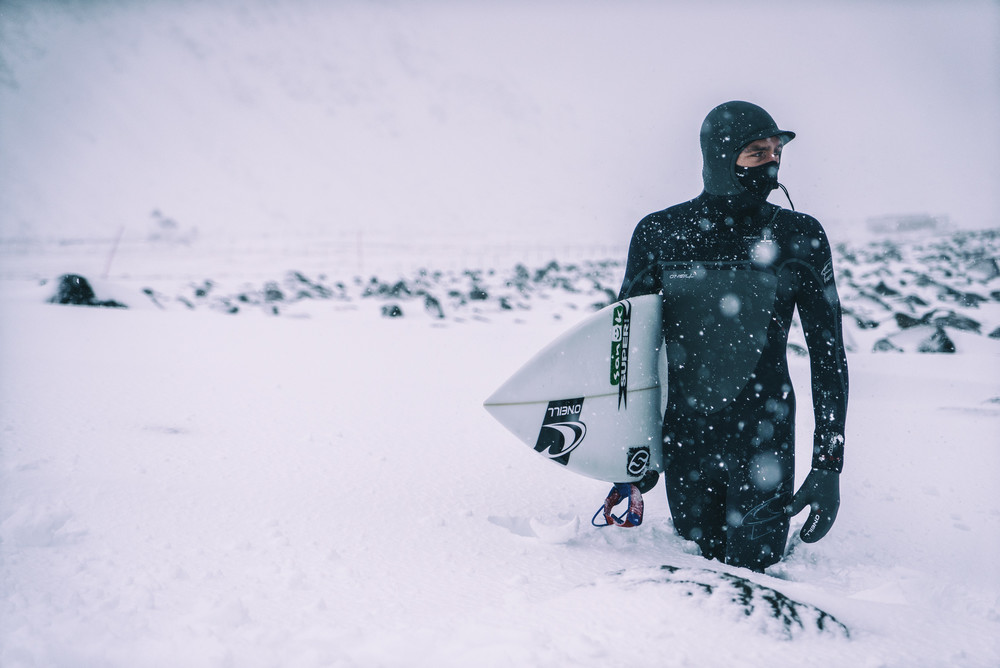 This was Brett Barley's first time surfing in the snow, but his thick O'Neill wetsuit kept him semi-warm