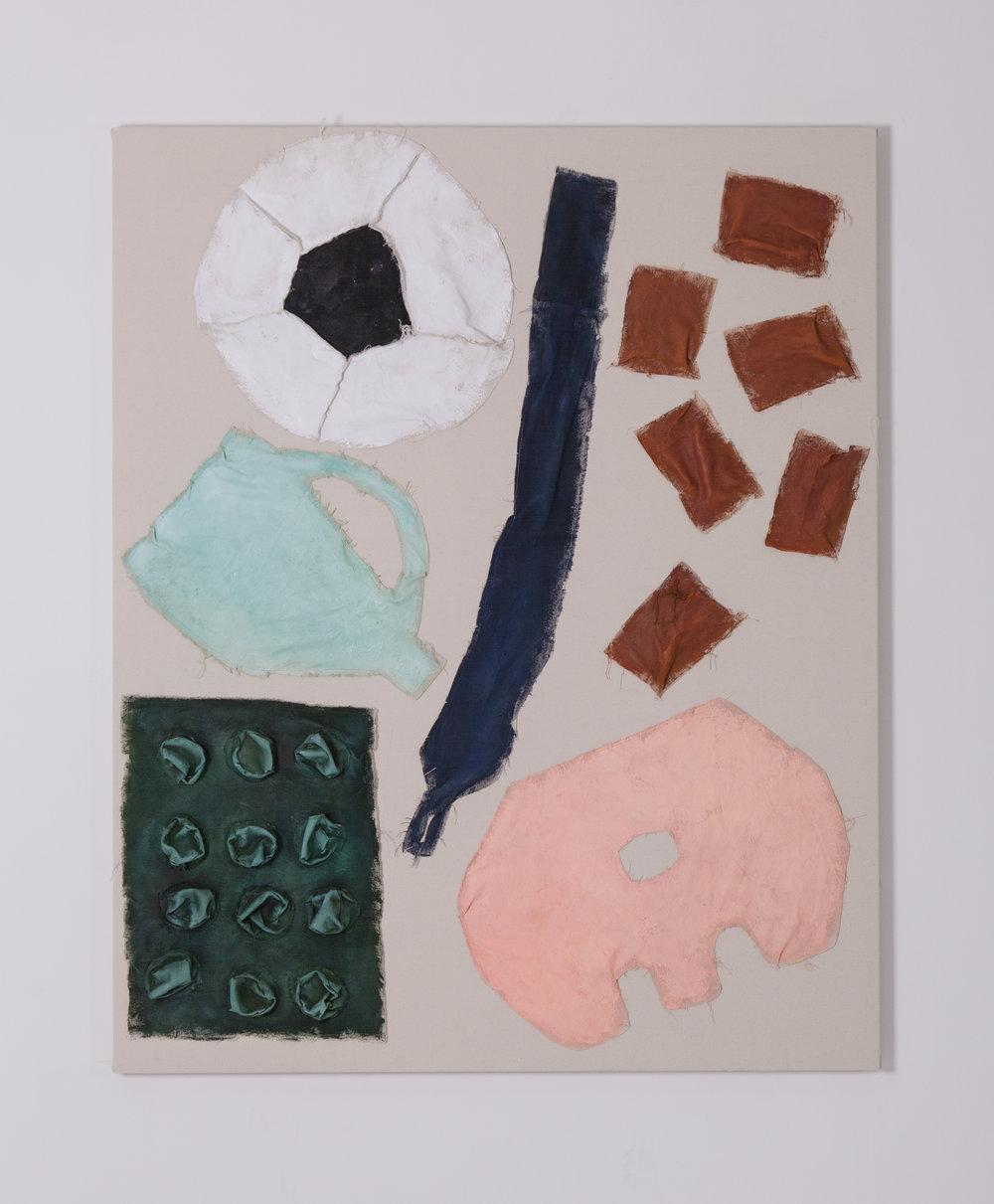 Football, Sponges, Egg Carton, Fruit Liner, Duster_Oil and Acrylic on Canvas | 110 x 138 cm | Oil and Acrylic on Canvas