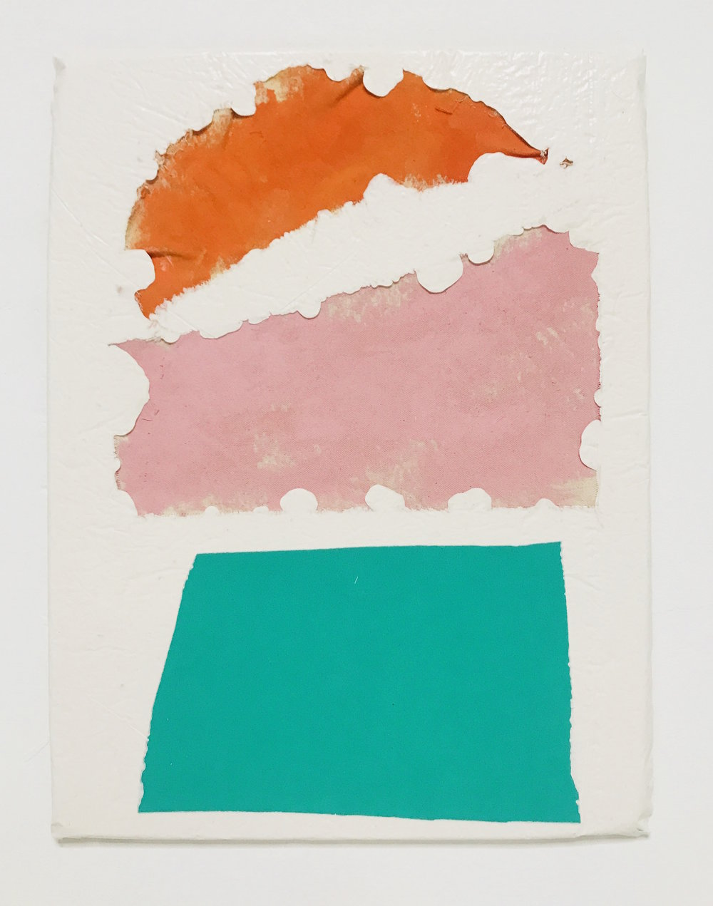 Untitled Fragment (orange and pink canvas, green foam) | Composite and Mixed Media | 42 x 32cm