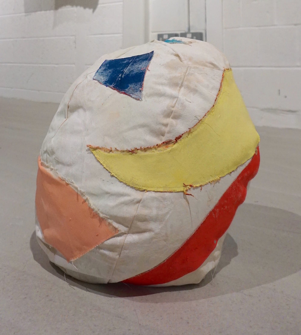 Untitled (Patchwork Football)   Acrylic on Embroidered Canvas   48cm Diameter