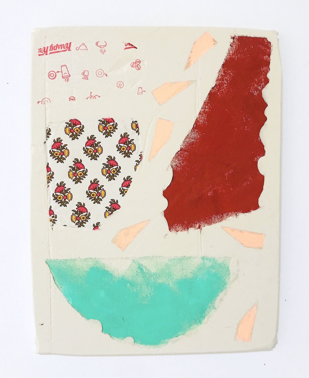 Untitled Fragment (pink wedges, found fabric, Krispy Kreme wrapper, canvas) | Composite and Mixed Media | 42 x 32cm