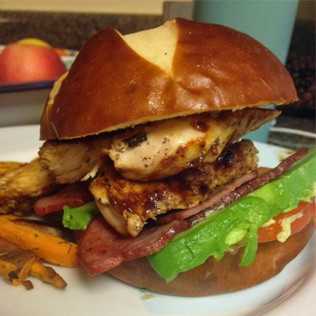 BBQ Chicken, Turkey Bacon, Avocado, & Tomato Sandwich