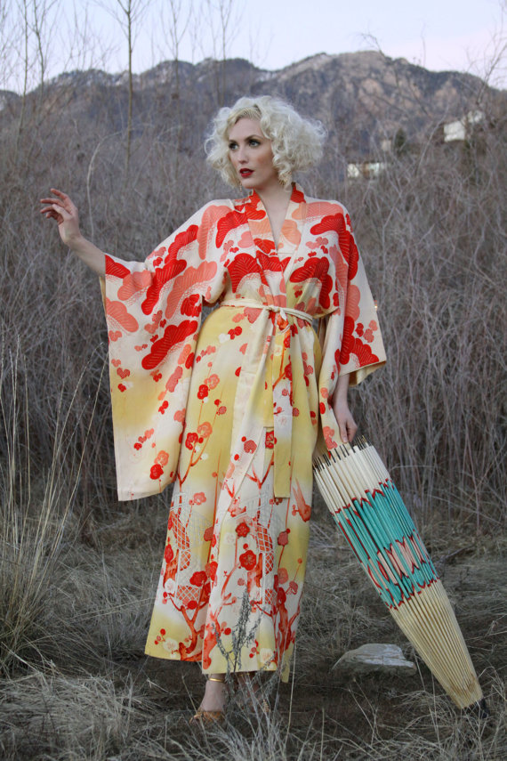 You can purchase this vintage kimono for $448- from   Lacy Dresses Vintage Co.