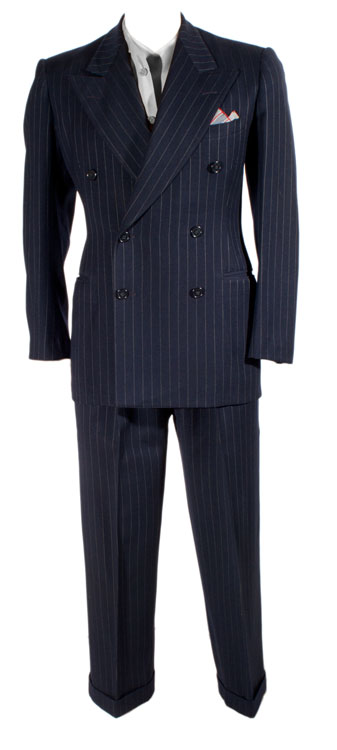 1940's blue double breasted wool suit with chalk stripe. You can purchase this vintage suit for $399- from  Ballyhoo Vintage Clothing