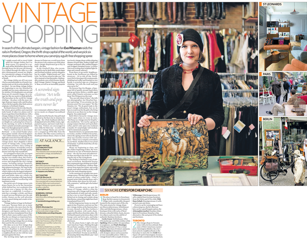 """Vintage Heaven - A second-hand shopping spree in America's thrift store capital, Portland"" by Eva Wiseman - UK Guardian Observer Newspaper"