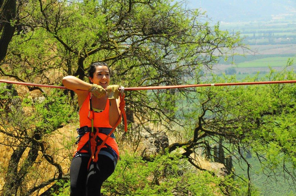 Hanging on a Highline. Punta de Cortés, Rancagua, Chile