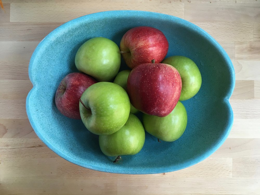 Gala and Granny Smith Apples. When subbing one for the other, consider that one is sweet, one is tart, and depending on how fresh they are, they may be very firm or a little soft.
