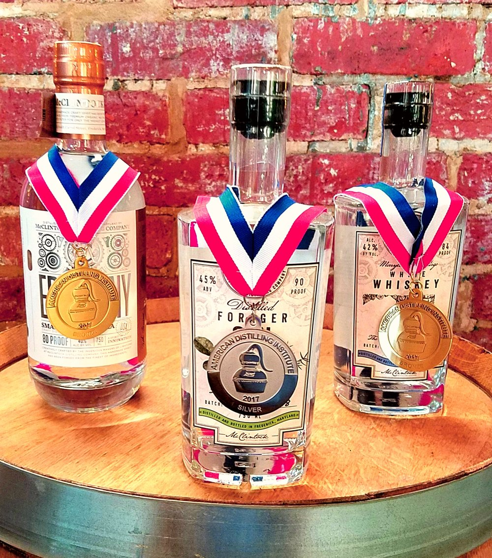 Our award winning spirits; Forager Gin, Epiphany Vodka and Maryland-Heritage White Whiskey.