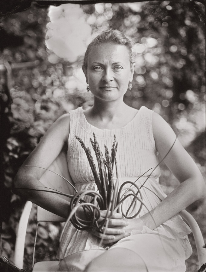 Jen with her Bouquet of Garlic Scapes and Asparagus, 2013