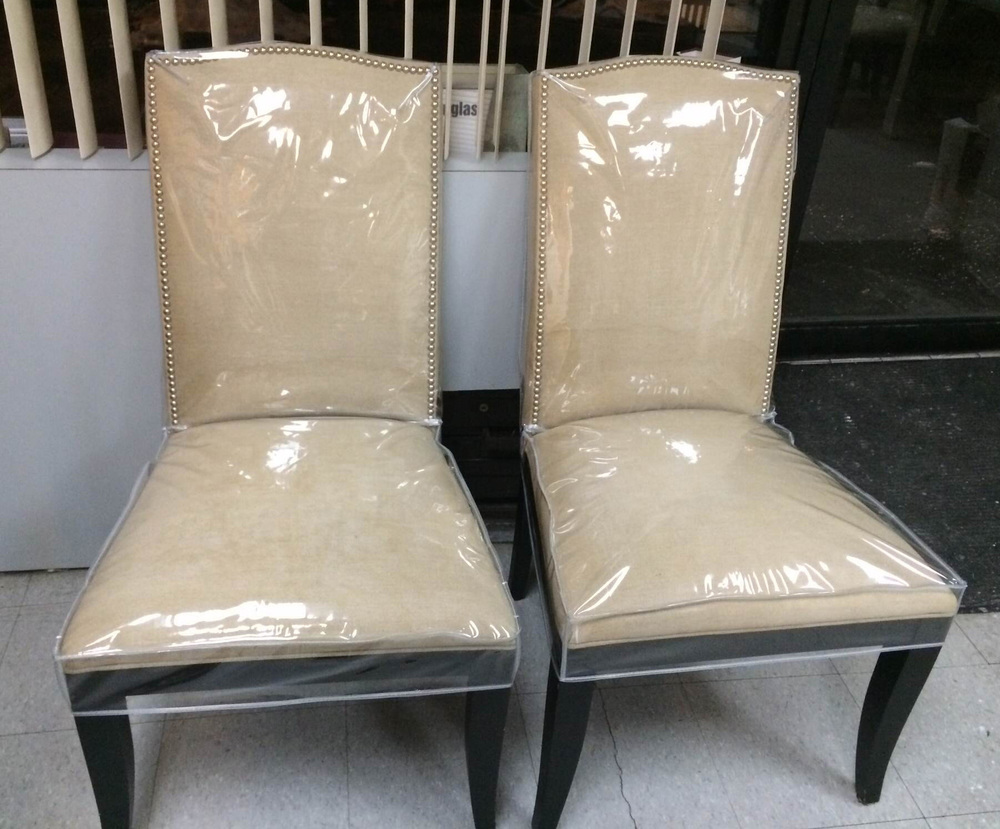 Dining Room Chairs. Plastic Slipcovers