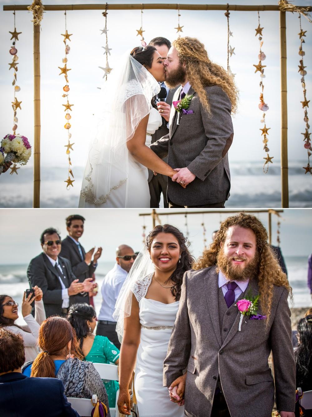 first-kiss-Ventura Beach Wedding