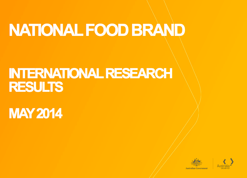Austrade,the proponents of the Australian Unlimited Brand Australia (see below), have been appointed to deliver the national food brand. Click here for details of their strategy and research.