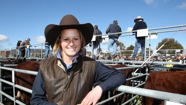 .Bec Oakley — Tasmania's only female stock agent — at a cattle sale at Bothwell. Photo: Weekly Times, Sarah Hudson.
