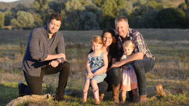 Three's a crowd idea: Sam Marwood, Tegan and Tim Hicks, with daughters Rose, 3, and Bell, 2, have started up Cultivate Farms to help fund property buys by young farmers. Picture: The Weekly Times, Greg Scullin