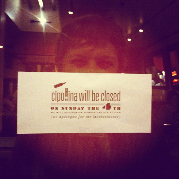 Closed so magic man can make Cipollina disappear (Taken with  instagram )