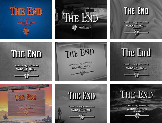 """The End"" of Warner Bros .  This is a huge collection of end titles from  Warner Bros . movies.  Mouse-over the end titles to see the opening title.  I've always enjoyed movie credits for their typography, and this list is a great resource for that.  I like that the Warner Bros. logo hasn't changed and is still relevant."