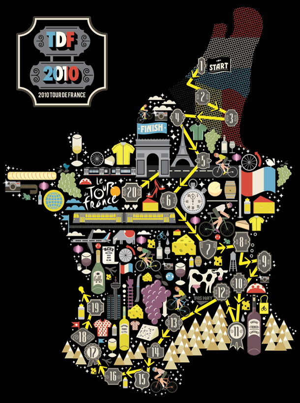 ILoveDust's excellent Tour de France illustration for an article in USA Bicycling Magazine www.ilovedust.com