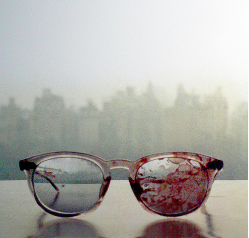cokofeatneke: The glasses John Lennon wore when he got shot, 31 years ago. Yoko took this image on their window sill in the apartment…so sad