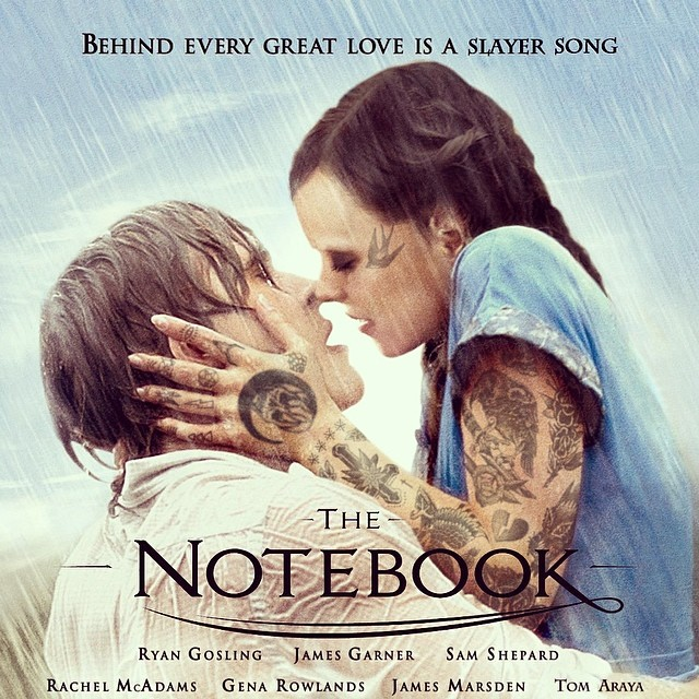 shoppedtattoos: #thenotebook #slayer #rachelmcadams #ryangosling #shoppedtattoos #cheyennerandall #yep Behind every great love is a slayer song