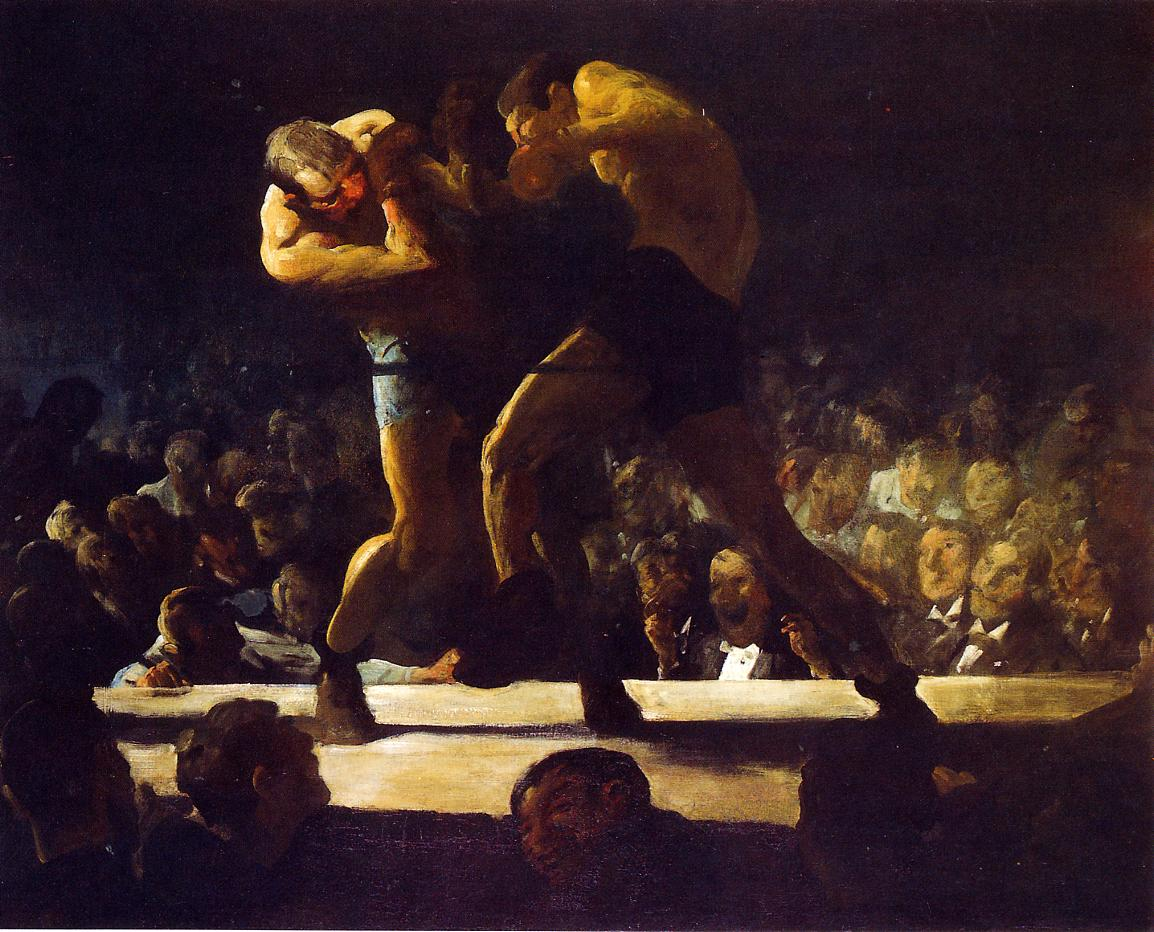 lyghtmylife: George Wesley Bellows [American Ashcan School Painter, 1882-1925] Club Night  (also known as Stag at Sharkey's) 1907 oil on canvas Height: 109.22 cm (43 in.), Width: 134.62 cm (53 in.) National Gallery of Art - Washington DC (United States